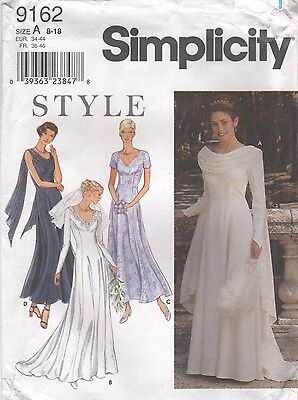 *Formal Bridal Bridesmaid GOWN Dress Pattern Simplicity 9162 Uncut Size 8 to 18