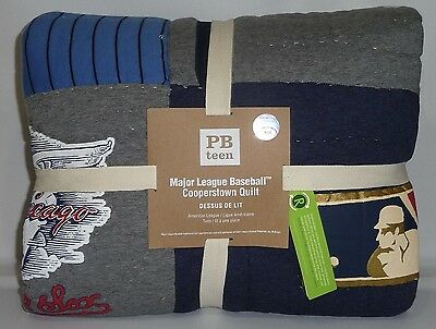 POTTERY BARN PB TEEN American League Baseball MLB Cooperstown TWIN Quilt, NEW