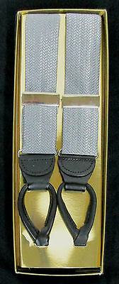 New With Tags Silver Herringbone Suspenders/Braces With Buttons *Free Shipping*