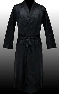 NEW HUGO BOSS Mens Black Silk Long Robe Dressing Gown Housecoat S SMALL