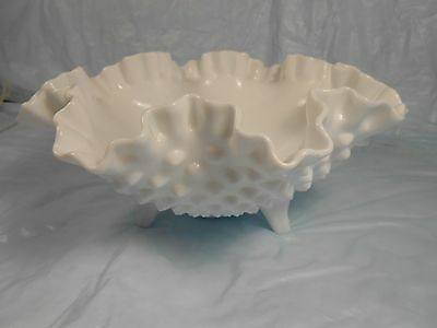 Fenton White Hobnail Ruffled Crimped Top 3 Footed Serving Bowl Nice old Fenton