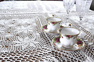 """Home Vintage Crochet Holiday Knitted Tablemat Runner """"60x90"""" White Tablecloth"""