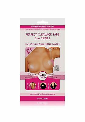 Bye Bra PERFECT CLEAVAGE TAPE INCLUDES FREE SILK NIPPLE COVERS CUP A-F