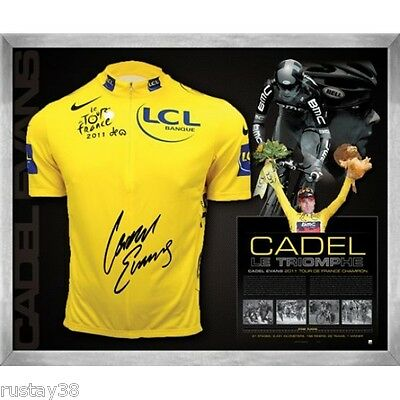 Cadel Evans Hand Signed Tour De France Framed Limited Yellow Champions Jersey