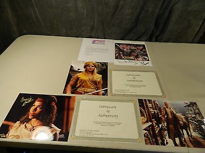 4 Xena Warrior Princess Lucy Lawless Cast Autographed Pictures with COA's Letter
