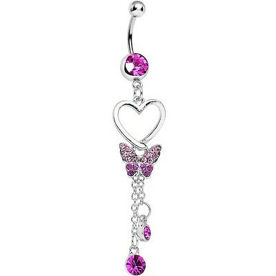 Pink Crystal Soaring Love Butterfly Dangle Belly Ring