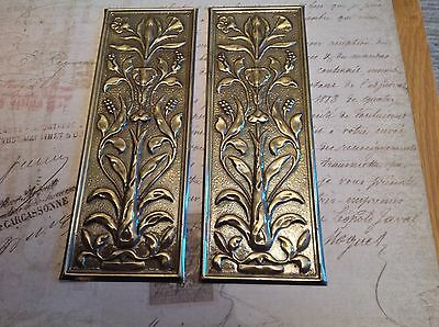 Reclaimed Solid Brass Door Finger Plates Antique finish short style 2 plates Cla