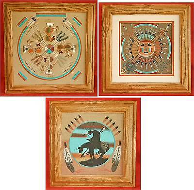 Cambridge Vintage Sand Painting Buffalo People Sun Eagle End of Trail Framed