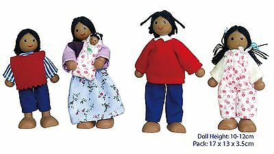 Dark skinned wooden dolls family with baby 10-12cm