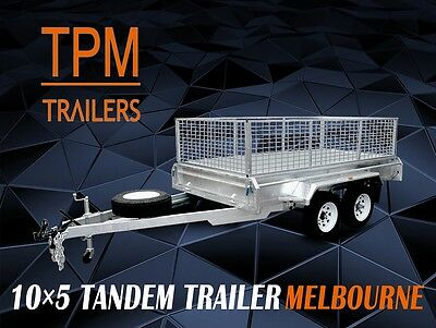 10x5 Tandem Trailer Hot Dip Galvanized free 600mm Cage Melbourne VIC