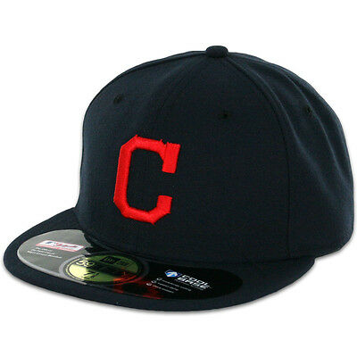 Cleveland INDIANS ROAD Away DarkNavy New Era 59FIFTY Fitted Caps MLB OnField Hat