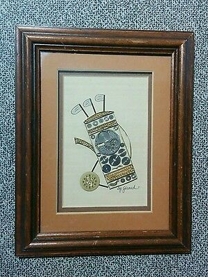 Golf Bag & Clubs Watch Parts Picture - Original by Girard  Signed & Framed GUC