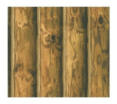 Light Brown Inch Log Cabin Inch Wide Sure Strip Wallpaper Ch7980 Mountain Logs R