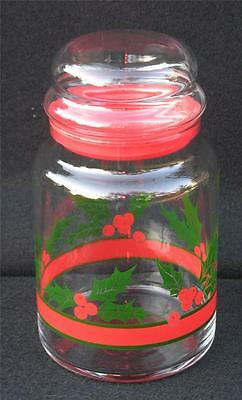 1 Libbey Holly Berry Leaves Christmas 1qt Glass Canister Storage Jar 3available
