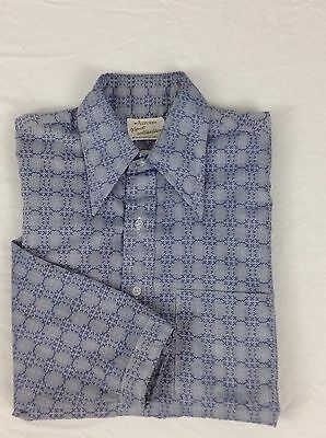 Vtg 70's Mens M Blue Disco Hippie Long Sleeve Button Shirt Arrow Kent Collection