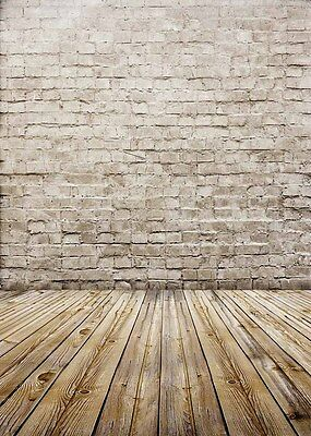 Wood Floor Photo Backdrops Studio Brick Wall Photography Background Vinyl 5x7ft