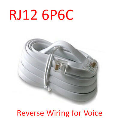 10Ft RJ12 6P6C Reverse Telephone Line Flat Cable Cord Wire for Voice - White