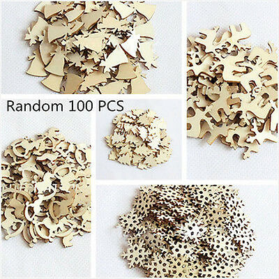 100pcs Christmas Wood Chip Ornaments Festival Party Xmas Tree Hanging Decoration