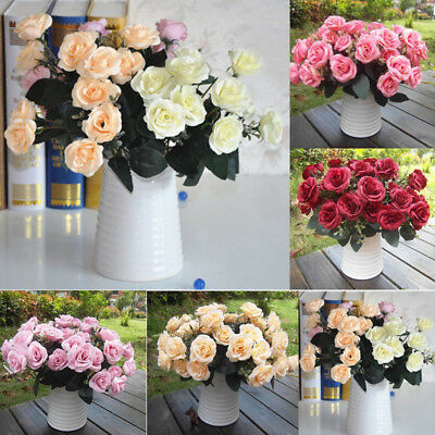 12Head Artificial Fake Roses Silk Flower Wedding Home Party Bridal Bouquet Decor