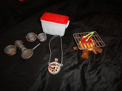 BARBIE SIZE~CAMPING SET~over 10 pc~Camp Fire-cooler-Pans-food-lantern~MUST SEE!