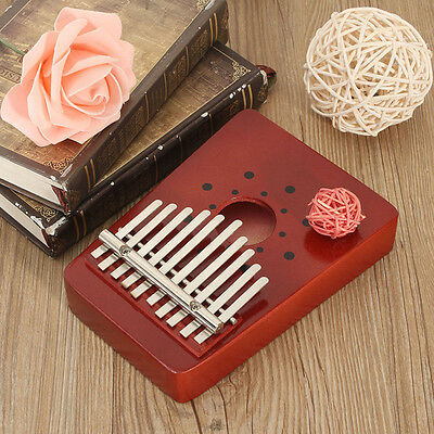 10 Keys Kids Adult Red Wooden Thumb Kalimba Piano Traditional Musical Instrument