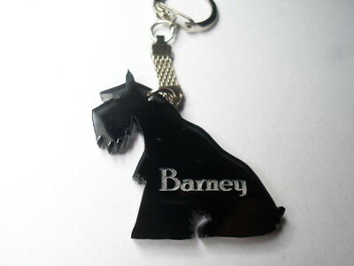 Miniature Schnauzer  Keyring  Black Smoked Perspex  With Dogs Name Etched
