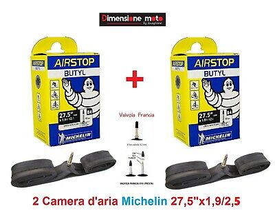 "2 Camera d'aria MICHELIN 27,5""x1,9/2,6 V. Presta 60mm x Bici 27,5"" MTB Mountain"