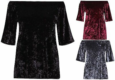 Womens Plus Size Off Shoulder Ladies Stretch Short Sleeve Velour Long Velvet Top