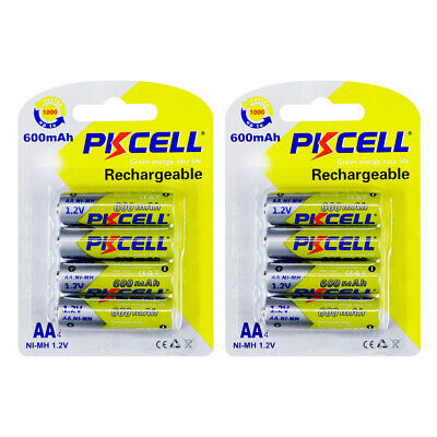 Ni-MH AA Batteries 600mAh 1.2V NIMH 2A Rechargeable Battery PKCELL - 8 count