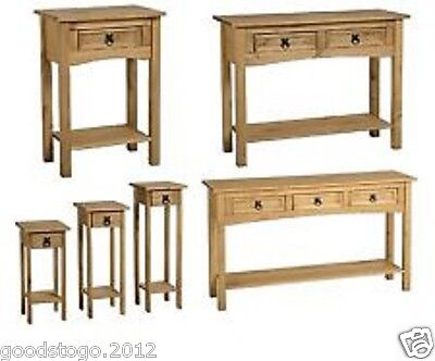 Corona Mexican Pine Hall Console Table / Plant Stands 1, 2, 3 Drawer Or Handle