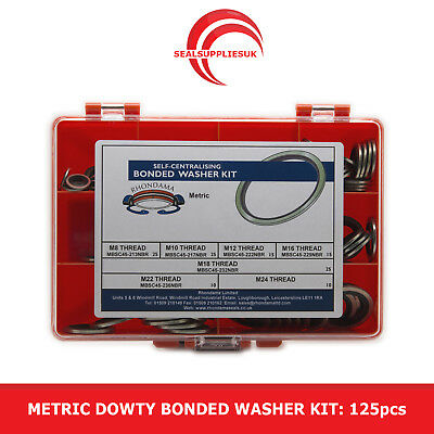 Metric Dowty Bonded Washer Kit Self Centering - M8 to M24 Thread - 125pcs