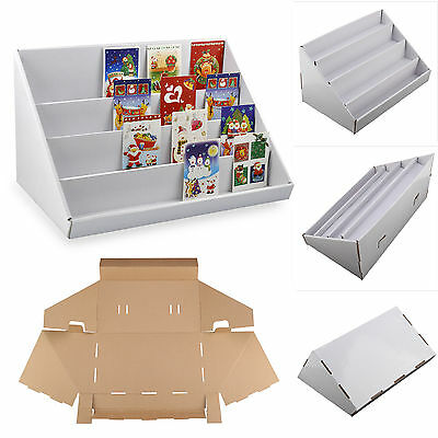 2 X White 4 Tier  Collapsible Cardboard Greeting Card Display Stands