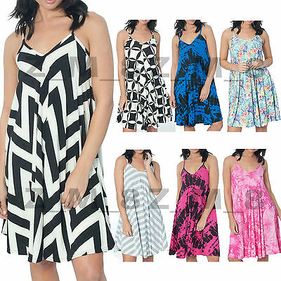 0ef3dfa5ef5c Ladies Long Printed Camisole Cami Strappy Swing Dress Vest Top Flared  Sleeveless