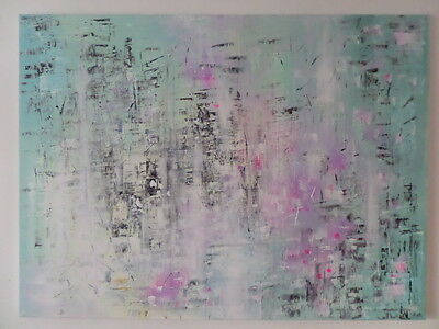 """Original  Acrylic Oil  Painting On  Stretched  Canvas 30 X 40""""  Abstract City"""