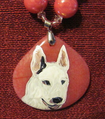 Bull Terrier - white- hand painted on gemstone pendant/bead/necklace