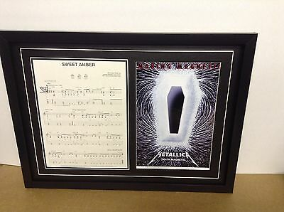 Metallica Genuine Hand Signed/Autographed Songsheet with Poster & COA