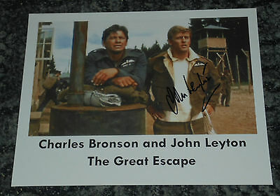 JOHN LEYTON-  THE GREAT ESCAPE - 10x8  PHOTO SIGNED -With Charles Bronson  (2)