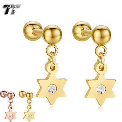 TT Surgical Steel Star Dangle Cartilage Tragus Earrings (BE182) NEW