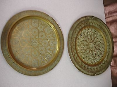 """Pair Of Vintage Ornate Iranian Brass Plates 14"""" & 12"""" Made In 1976 In Terhan"""