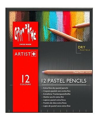 CARAN D'ACHE PASTEL PENCILS - Box of 12 assorted colour fine dry pastel pencils