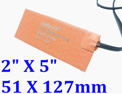 """2""""X 5"""" 40W 120V universal silicone heater pad blanket  with 3M backing"""