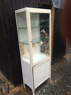 A Vintage Medical Glass & Metal Medical Cabinet Industrial Bathroom Shop Display