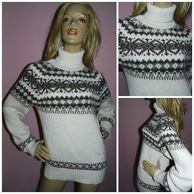 Cream/brown Traditional Patterned Polo Neck Winter Jumper M Sweater