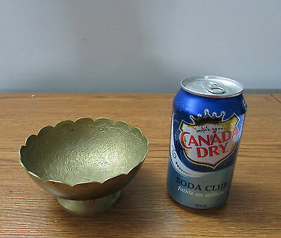 """Vintage 5"""" Intricate Raised Floral Etched ? Brass Bowl Scalloped Edge Footed"""