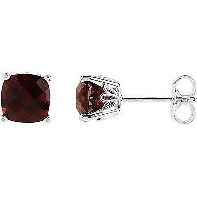 Sterling Silver Genuine Mozambique Garnet Stud Earrings-5mm to 8mm