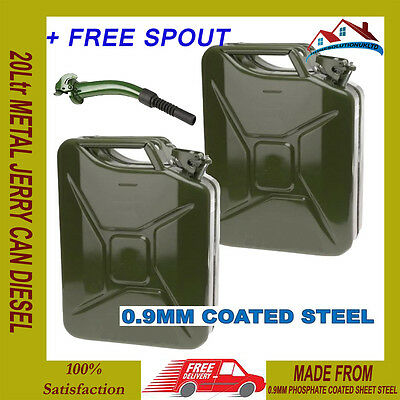 2 X New 20L Metal Jerry Can Diesel Petrol Oil Water Storage Military Style Cans