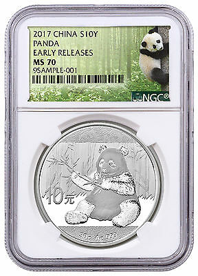 2017 China 10 Yuan 30g Silver Panda NGC MS70 ER Exclusive Panda Label SKU43850