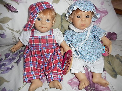 """Reduced Two Funny Face Bean Belly Berenguer Dolls Poseable Boy & Girl Sweet 9"""""""