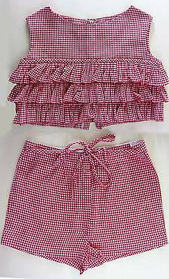 childrens vintage gingham summer outfit top & shorts set red cotton age 3