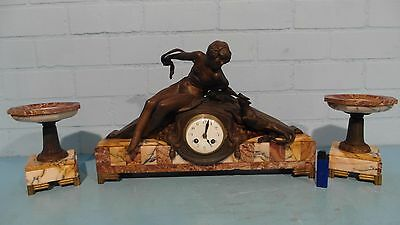 French Art Deco Clock Set Woman Playing With Cat